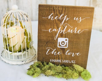 Help Us Capture the Love Hashtag Sign DECAL, Instagram Wood Sign DECAL, Wedding Instagram Sign,  Share the Love sign, Instagram Wedding