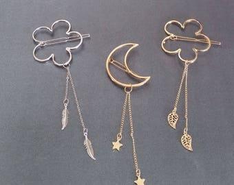Crescent Moon Stars Gold Silver Hair Clips, Metal Hair Barrette, Hair Clips for girls, Hair Accessories for girls, Metal Flower Hair Buckle