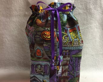 Tissue Box Cover - Purple Halloween House (#001.7)