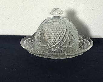 Vintage Pressed Glass Domed Butter or Cheese Dish