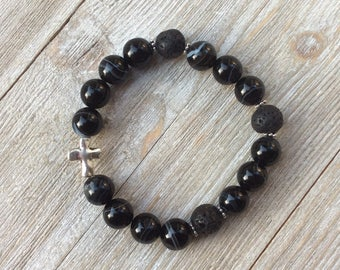 Essential Oil Diffuser Bracelet, Aromatherapy Bracelet, Agate, Lava Diffuser, Includes 1ml EO Sample Blend, Ships FREE in US