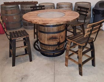 Jack Daniels Whiskey Barrel Table, With 4 Stave Chairs And Metal Footrest    (ask