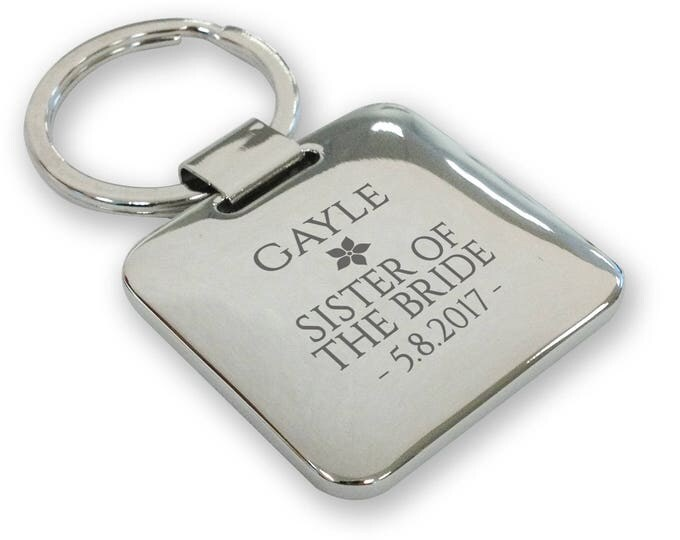 Personalised engraved SISTER of the BRIDE wedding keyring gift, silver plated deluxe pillow square keyring - SQU13
