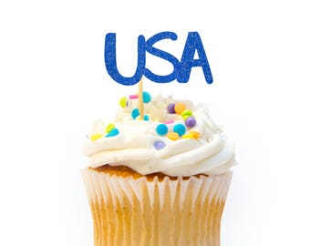 12 CT USA Cupcake Topper Glitter 4th of July Cupcake Topper Independence Day Cupcake Topper 4th of July Decorations