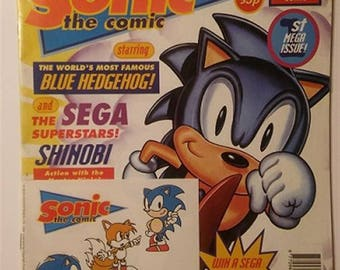 Sonic the Hedgehog Comic No 1 Fleetway 1993 stickers unused