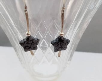 Handcrafted sterling silver dangle earrings with silver and snow flake obsidian beads