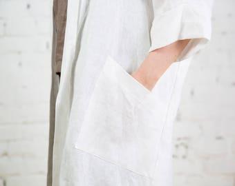 Loose fit linen jacket, Long sleeves jacket, Linen cardigan, Long linen blazer, Linen summer coat, Flax grey linen women's clothing/ LC0002