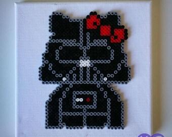 Darth Kitty, Darth Vader Kitty, Hello Kitty Darth, Kitty Vader, 8 Bit, 16 Bit, Pixel art, Perler beads, Hama Beads, Bead Art, Bead pictures
