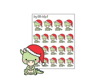 Planner Stickers Christmas Dragon in Santa Hat