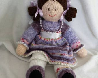 """Hand knitted best friend dolly. In a choice of 5 colours.aporox 16""""top to toe.with her own little pantalletes +matching ribbons"""