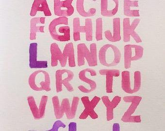 Original custom watercolour alphabet name