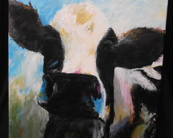 Black and White Cow on Canvas
