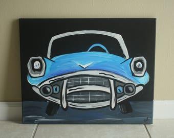 Old Fashion Blue Car Acrylic Painting
