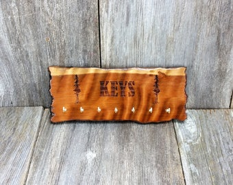 Redwood Key Rack Plaque 7 Hooks Handmade California Redwood Engraved Rustic Edge Slab #4