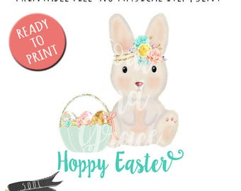 Hoppy Easter Girl - INSTANT DOWNLOAD - PDF Printable - Bunny with Flowers - Easter Rabbit - Bunny with Basket