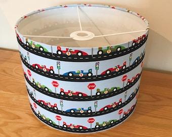 Racing car print lampshade, baby boy lampshade, boys lightshade, racing car theme lampshade, car theme, boy's room decor, racing cars