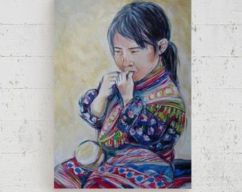 Ethnic Vietnamese girl painting on canvas room decor beige colored portrait Italy made original little girl black red modern