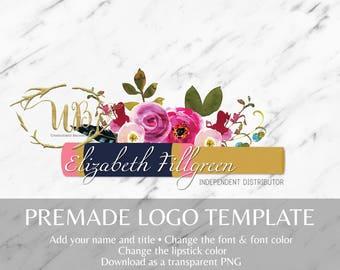 Floral LipSense Tube Pre-made Makeup Logo Template
