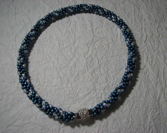 Blue Ice Beaded Kumihimo Necklace with Magnetic Rhinestone Clasp