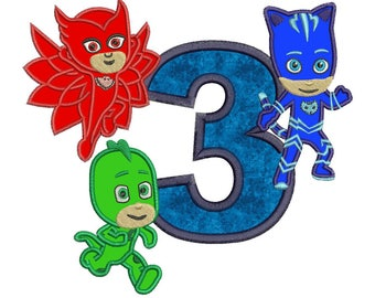 Pj Masks 3rd Birthday Embroidery Applique Design Instant Download 3 sizes