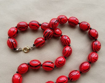 Red and Black Bead Necklace