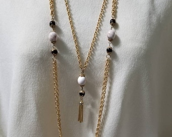 Vintage Long Multi Chain with Tassel Earthtone beads Necklace