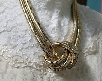 Vintage Chunky Gold Snake Chain Knotted Choker