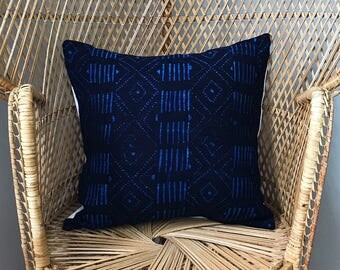 African Mudcloth Pillow Cover in Blue Indigo