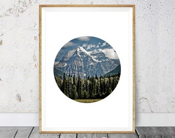 Mountain Print, Circle Print, Forest Print, Circle Print, Photography Art, Forest Photography, Mountain Photography, Instant Download,
