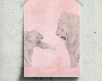 Lions Wall Art V Day Printable, Valentine's Artwork Pastel Pink Poster, Wilderness Art Prints, Wild Love Print Gift for V Day Lion & Lioness