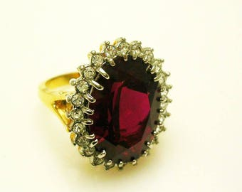 Faceted Crystal  Ring  size  7