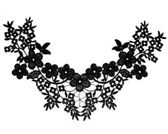 Lace black flowers C470