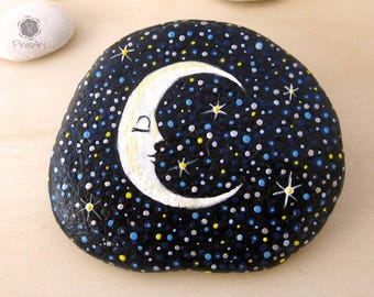 Moon painted on rock- starry night painting- paperweight rock- fantasy painted rock- moon and stars painted art - collectible rocks- gift