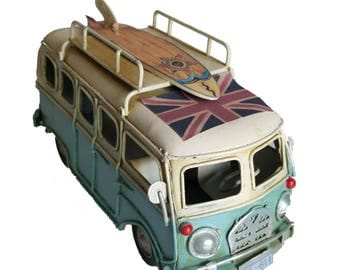VW Style Camper Van Rustic Shabby Tin Metal Model Ornament 16cm Blue With Surf & Union Jack