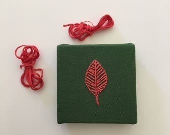 Tiny Embroidered Canvas - Leaf