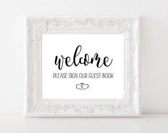 Wedding Guest Book Signage Version 2 / Instant Digital Download / Welcome Sign