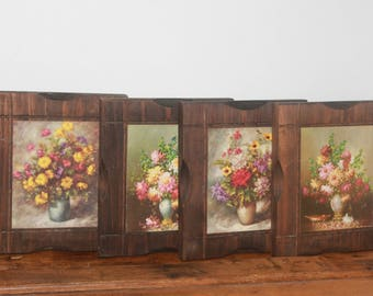 Vintage Floral Print Wood Hanging Plaques, Vintage Wall Decor, Vintage Wood Hanging Plaques With Flowers, French Cottage