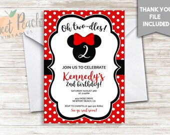 Red Minnie Mouse Girl's 2nd Birthday Invite Red Polka Dot Invitation 5x7 Digital Personalized Oh Two-dles! Toodles Minnie Mouse Ears #136.1