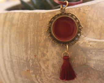long necklace with liquid glass