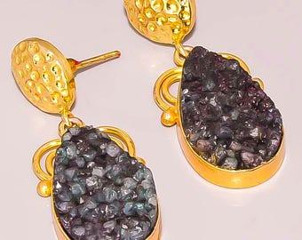 Designer black druzy quartz fashion handmade earrings