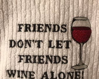 Embroidered Novelty Wine Towel .
