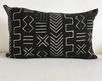 """12"""" x 20"""" African Mudcloth Pillow Cover"""