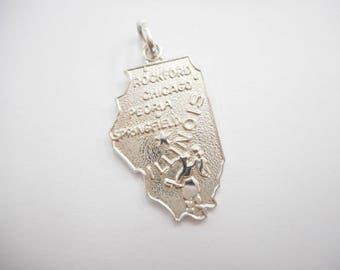 Illinois Charm, Illinois, Wells Charms, Sterling Charm, Wells Sterling Silver Illinois Prairie State Traditional Dangle Charm #3158