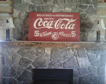 Vintage Style Hand Painted Coca Cola Sign Red/Wooden Sign:Coca Cola 5 cents/Classic Americana/Coca cola Art/Farmhouse Sign/Cabin Decor