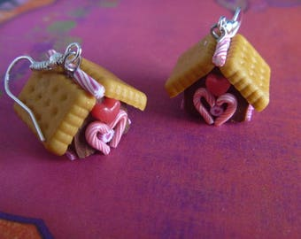 gingerbread house earrings