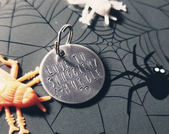 Love To Snuggle My Muggle Halloween Hand Made Hand Stamped Dog Puppy Cat Collar Pet ID Tag