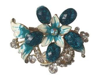 Vintage 1950s Large Gold Toned Blue Enamel and Rhinestone Flower Brooch