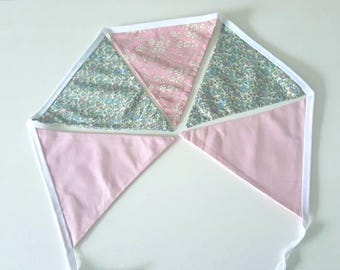 Bunting, liberty and pink cotton, 5 pieces