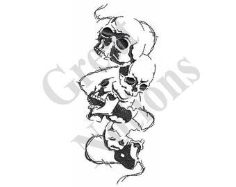 Skulls And Barbed Wire - Machine Embroidery Design