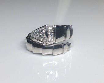 18K White Gold 0.38 CTW Diamond Snake Serpent Serpenti Band Ring 10 Grams